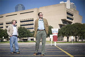 Brent Brown and John Greenan outside City Hall in Dallas / image credit: Dallas Observer